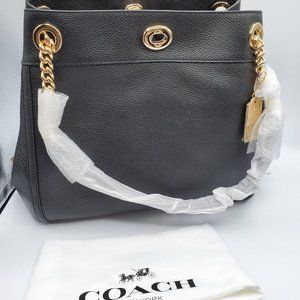 COACH Women's Turnlock Edie LI/Black Shoulder Bag